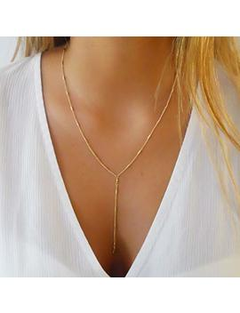 Gold Lariat Necklace   Y Shape Chain Jewel With Tiny Tubes by Amazon