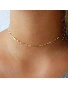 Delicate Gold Choker   Chain With Tiny Tubes by Amazon