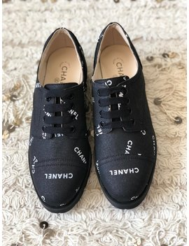 Vintage Chanel Letters Logo Cap Toe Black White Sneakers Oxford Lace Ups Boots Eu 38 Us 7   7.5   Mint by Etsy