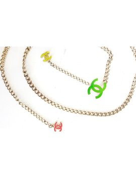 Vintage 90's Chanel Cc Logo Neon Pink Yellow Green & Rose Gold Charm Pendant Belt Long Necklace Jewelry Belt by Etsy