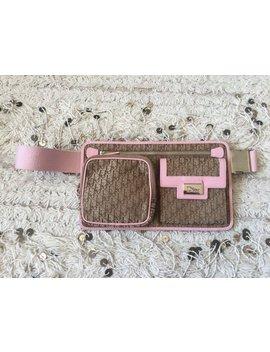 Vintage Christian Dior Trotter Monogram Canvas Beige Pink Webbing Leather Fanny Waist Bum Belt Bag Pack ~ Excellent by Etsy