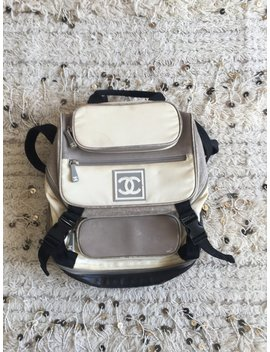 Vintage Chanel Cc Logo Mania!  Backpack Rucksack Travel Purse Bag Tote Gray White by Etsy