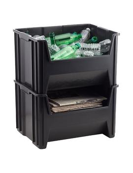 Black Stackable Recycle Bin by Container Store