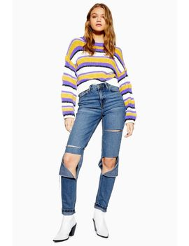 Mid Stone Super Rip Mom Jeans by Topshop