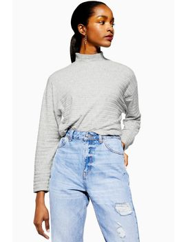 Chunky Rib Cut And Sew Sweatshirt by Topshop