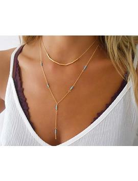 Handmade Designer Delicate Set Of 2 Gold Filled Layered Necklaces   Gold Tube Beads Necklace And Gold Lariat Y Shape Necklace With Turquoise Beads by Amazon