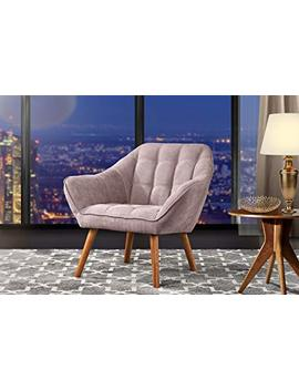 Accent Chair For Living Room, Linen Arm Chair With Tufted Detailing And Natural Wooden Legs (Pink) by Divano Roma Furniture