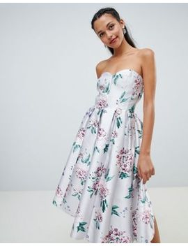 Chi Chi London Floral Printed Bandeau Midi Dress by Chi Chi London