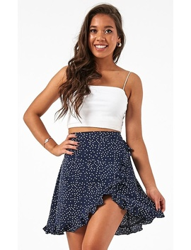Started With A Kiss Skirt In Navy Spot by Showpo Fashion