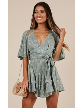 Move Like This Playsuit In Mint Floral by Showpo Fashion