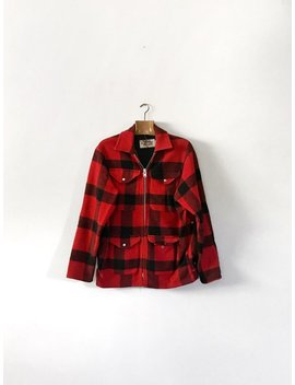 Vintage Western Trails Mackinaw Wool Coat / Jacket Men's Medium / M Red / Black Buffalo Plaid Hunting by Etsy