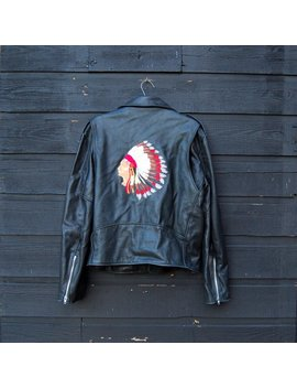 Leather Motorcycle Jacket Men's 42 M Large Native American Indian Chief Embroidered Jacket, Black Leather Jacket, Belted Moto Biker Jacket by Etsy