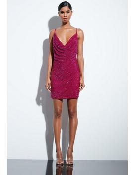 Peace + Love Pink Sequin Cowl Neck Dress by Missguided