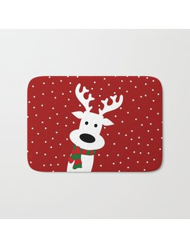 Reindeer In A Snowy Day (Red) Bath Mat by