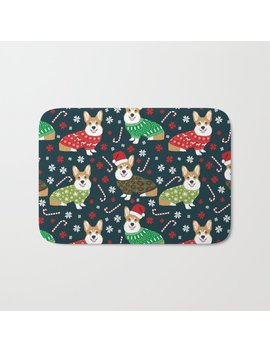 Corgi Christmas Sweater Ugly Sweater Party With Welsh Corgis Dog Lovers Dream Christmas Bath Mat by