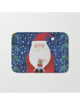 Santa With Stocking Bath Mat by