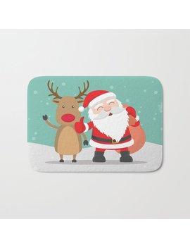 Noel And Deer Enjoying The Christmas Bath Mat by