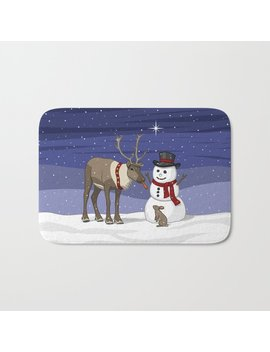 Santa's Reindeer Giving Snowman's Carrot Nose To Bunny Bath Mat by