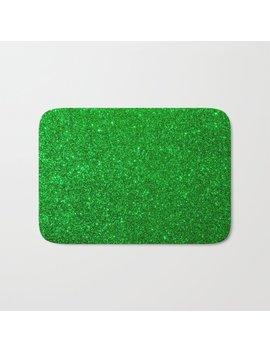 Emerald Green Shiny Metallic Glitter Bath Mat by