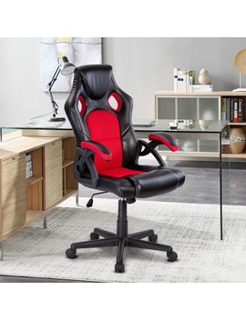 Costway Pu Leather Executive Bucket Seat Racing Style Office Chair Computer Desk Task by Costway