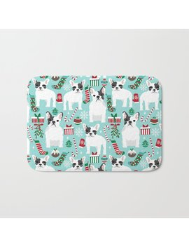 French Bulldog Festive Holiday Pet Portrait For Frenchie Owner Pet Friendly Dog Illustration Bath Mat by