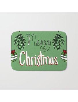Merry Christmas Ornaments Bath Mat by