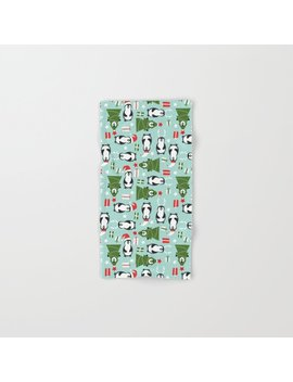 Penguin Party Pattern Hand & Bath Towel by