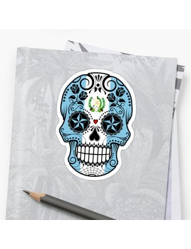Sugar Skull With Roses And Flag Of Guatemala by Jeff Bartels