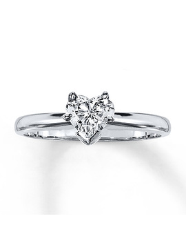 Diamond Solitaire Ring 1/2 Carat Heart Shaped 14 K White Gold by Kay Jewelers