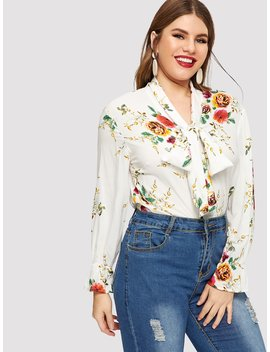 Plus Flounce Sleeve Tied Neck Floral Blouse by Shein