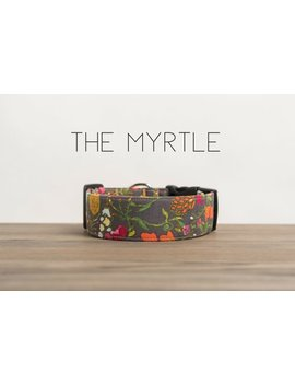 "Charcoal Grey Multicolor Mustard Orange And Rose Vintage Inspired Dog Collar ""The Myrtle"" by Etsy"