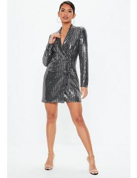 Tall Silver Sequin Blazer Dress by Missguided