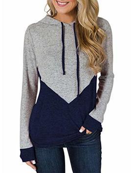 Tecrew Women's Color Block Long Sleeve Hoodie Casual Drawstring Lightweight Hooded Sweatshirt With Pockets by Tecrew