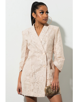 Feeling The Sensation Lace Blazer Dress by Akira