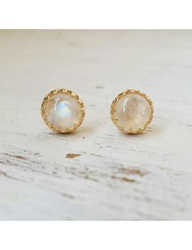 Gold Moonstone Earrings Stud 14k Gold Filled Natural Rainbow Moonstone Jewelry by Amazon