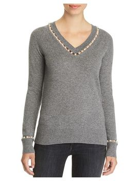 Embellished V Neck Cashmere Sweater   100 Percents Exclusive by C By Bloomingdale's