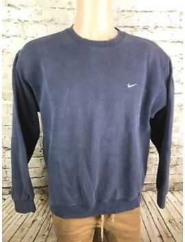 Vintage Nike Crewneck Sweatshirt Size Large 90's Navy Blue Embroidered Swoosh by Nike