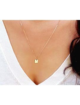 Tiny Initial Necklace, Gold Square Tag Necklace, Personalized Small Letter Necklace, Silver Or Rose Gold Monogram Square Shaped Necklace by Amazon