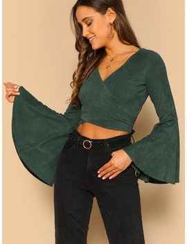Wrap Front Waist Tie Flared Sleeve Crop Top by Sheinside