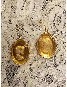 Vintage Intaglio White Grecian Lady Earrings by Amazon