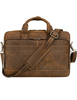 "Jack&Chris Men's Genuine Leather Briefcase Messenger Bag Attache Case 15.6"" Laptop, Mb005 B by Jack&Chris"