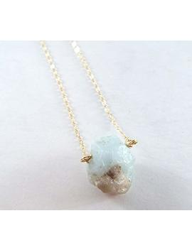 Captive Stone Aquamarine Necklace (Gold Filled) by Amazon
