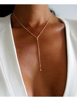 Thin Lariat Necklace For Women Y Shape 16 Inch Length Diamond Bridal Jewelry 14 Gold Fill Layered Long Necklace by Amazon