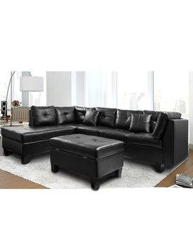 Harper & Bright Designs Sectional Sofa With Chaise And Storage Ottoman, Black by Harper&Bright Designs