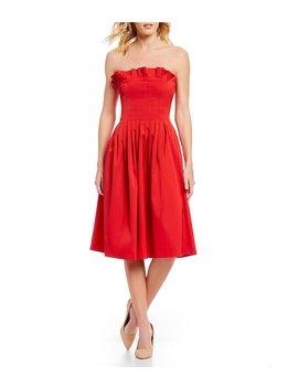 Alicia Strapless Ruffle Bodice Pleated Midi Dress by Antonio Melani