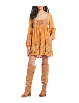Rhiannon Peasant Embroidered Mini Dress by Free People