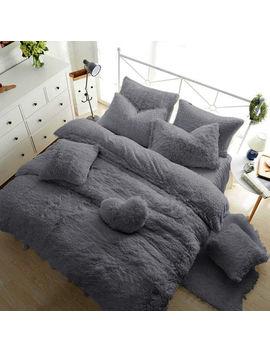 Teddy Bear Fleece Duvet Cover Warm Cozy Fitted Sheet + Pillow Case Silver Grey by Ebay Seller