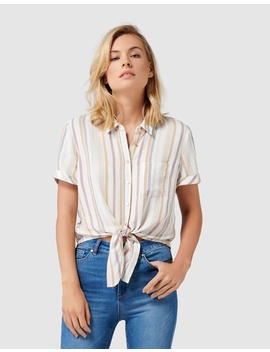 Meg Stripe Tie Front Shirt by Forever New