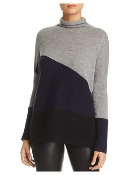 Rib Knit Detail Color Block Cashmere Sweater   100 Percents Exclusive by C By Bloomingdale's
