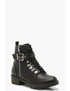 Lace Up Buckle Detail Hiker Boots by Boohoo